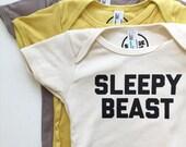 Sleepy Beast - Baby Bodysuit - Organic Cotton One Piece - Baby Gift - Beast - Wild Thing - Romper
