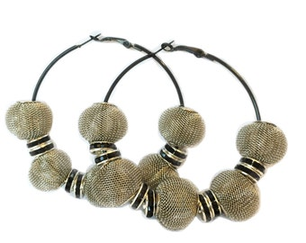 NEW Bling Hoops Grey Black Rhinestone Mesh Beaded Hoop Earrings Kids Women LHHLA