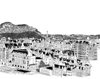 Edinburgh and Arthur's Seat - A4 illustration art-print and wall decor