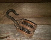 Vintage Double Barn Pulley - Primitive Wood and Rustic Iron