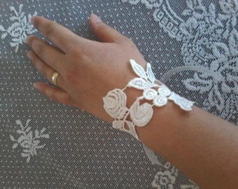 Ivory Wedding Bracelet, Jewelry, Bridal Cuff, Flower girl gifts, lariat jewelry, bridesmaid gifts, Bridal accessories