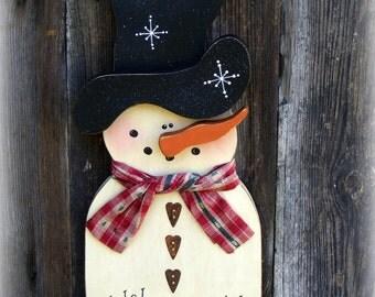 Snowman Wall Hanging ~ Snowman Door Hanger ~  Winter Door Hanger ~ Winter Door Decor ~ Primitive Snowman ~ Rustic Snowman ~ Snowman Decor