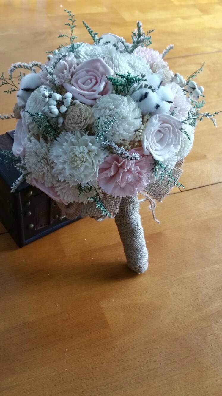 wooden flowers wedding bouquets wedding bouquet sola wood bouquet burlap mint bouquet 1486
