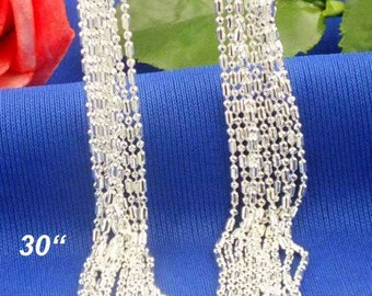 30 inch  (1pc)- Sterling Silver 1mm COLUMN Necklace Chains - .925 stamped -lobster clasp - Sterling Silver Stamped - Bulk - Column and Ball