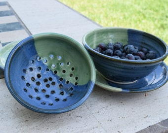 Berry Bowl and Saucer: Blue and Green