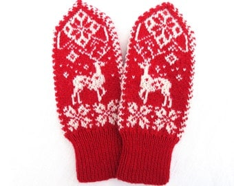 Merino wool mittens,wool mittens,warm winter gloves,red white womens mittens,snowflake arm warmers,winter fashion accessories,Christmas gift