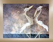 herons original art textured painting 40X30 FREE SHIP