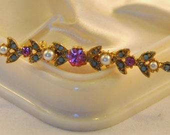Vintage Victorian Revival Gold, Blue, Pink Rhinestones and Pearl Bar Brooch- Regal