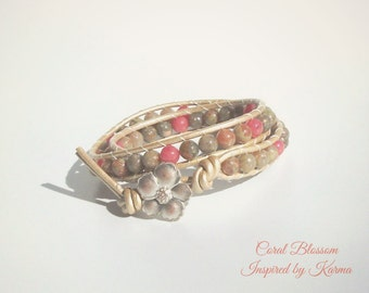 Double Leather Wrap Bracelet- Coral Blossom