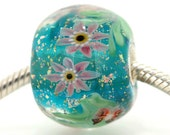 "Huge Teal Green Lampwork glass bead European Charm Focal bead ""Blossom"" 121 Sterling silver core big hole By Shirley"