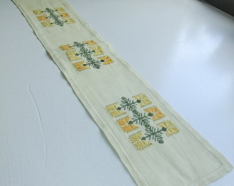 Vintage Swedish hand embroidered linen table runner - Yellow flowers -