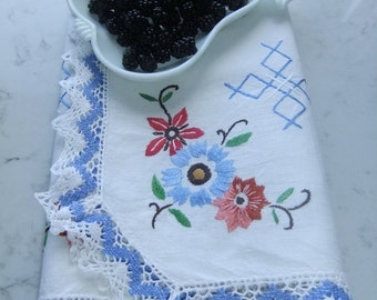 Vintage Swedish Mid Century hand embroidered tablecloth - flowers and croshet lace