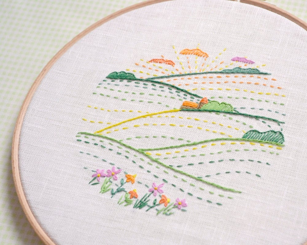 Embroidery hoop art hand pattern modern