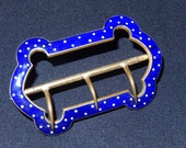 Antique ornate curved enamel & gold tone metal buckle 1910 - 20 white polka dots on blue 2 3/8 ins