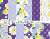 70% SALE Purple and Yellow Shabby Chic Digital Papers, Shabby Chic Scrapbook Papers - design, invitation, paper craft - INSTANT DOWNLOAD