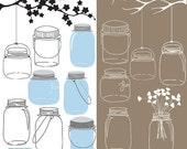 70% Sale Vintage Mason Jars Digital Clipart, Wedding graphic, Ball Jars, Wedding Clip art - Scrapbooking, invitations, hand drawn - INSTANT