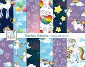 Unicorn Digital Papers, Rainbow Unicorns Scrapbook Paper - Unicorn Papers - Rainbow Background - INSTANT D