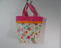 Handmade floral tote bag,  kids tote bag, quilted  bag with padded pockets, girls totebag