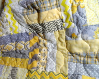Modern grey and yellow quilt with a soft minky back for baby or adult: baby blanket, toddler quilt, baby quilt, lap quilt