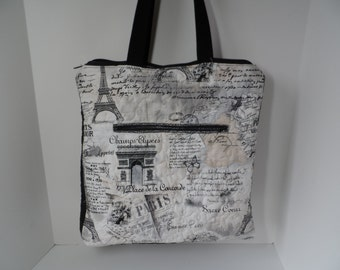 Handmade Paris print quilted tote bag, computer bag with zippered and padded I pad pocket