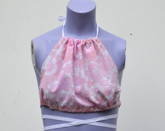 Upcycled 70s Floral Halter
