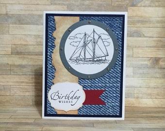 Birthday card, handmade card, greeting card, all occasion card, sailing, male