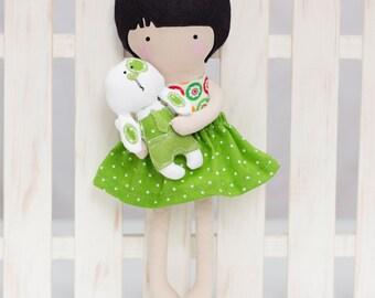 Easter Cloth Doll, Rag Doll, Fashion Doll with bunny, Soft Dress Up Doll