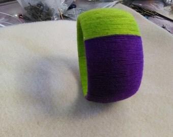 Purple and lime green bangle bracelet