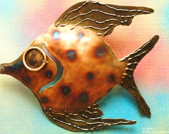 Abigail the Angelfish, Hand Made Metal Wall Piece, 12""
