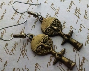 Earrings Vintage African Tribal Ethnic Fertility Statue Hand Cast Finished Exotic Boho Chic Bronze Surgical Steel Ear Wires