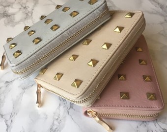 Studded Wallet Clutch - Faux Leather Nude Collection - Small Gold Pyramid Studs