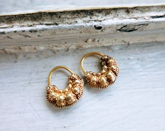 Tiny Antique Creolla or Criolla Earrings in Silver Gold Plated Finish from the Philippines