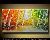 contemporary wall art, Palette Knife Painting,colorful tree painting,wall decor , Home Decor,Acrylic Textured Painting ON Canvas by Chen m05