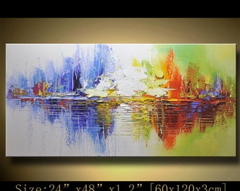 Abstract Wall Painting, expressionism Textured Painting,Impasto Landscape Painting  ,Palette Knife Painting on Canvas by Chen XX68
