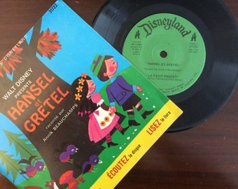 vintage Tunes ... Walt Disney HANSEL et GRETEL in FRENCH Book and 45 Record  ...