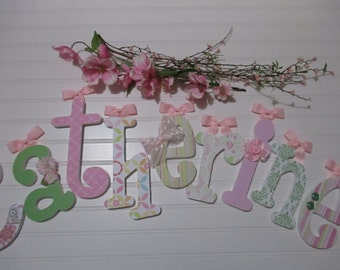 """CATHERINE - 12.00 PER LETTER Girl's name, 9"""" - 6 1/2"""" wood letters whimsical font, paisley print, hot pink, lime green, buttons, flowers"""