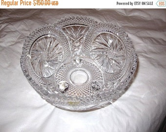 ON SALE Scalloped Cut Lead Crystal Footed Bowl - stunning