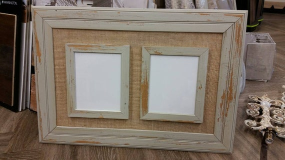 double frame for two 8x10 picture distressed beadboard frame with burlap hang vertical or