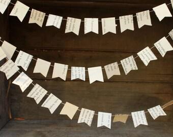 Book Page Garland. Paper Garland, Wedding Decoration, Party Decoration, Flag Garland, TINY Flag Garland, 10 feet long