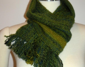 Handwoven, handspun scarf in rich greens