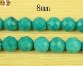 15 inch strand of Natural Green Turquoise faceted(64 faces) round beads 8mm