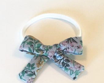 Girls Bow • Vintage Fabric Bow • Blue Floral Headband