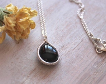 Black Onyx Stone Necklace -  Delicate Silver Chain - Black Gemstone Drop- Gemstone Jewellry- Modern Indian Jewelry