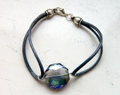 Graphite Grey Waxed Cording Grey Purple Green Faceted Glass Crystal Focal Bead Bracelet - Inspired by Shadowhunters