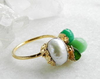 pearl ring, chrysoprase ring, chrome diopside ring, gold ring, bouquet ring, spring fashion, gifts for her