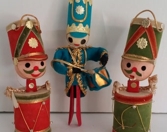 Three Vintage Christmas Decorations -- Toy Soldiers / Drums