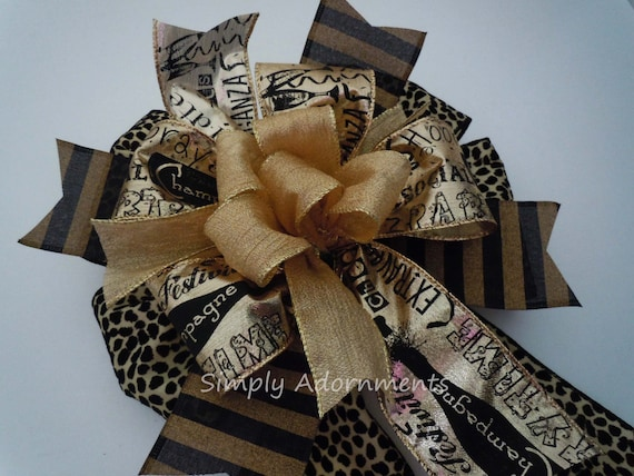 Black Gold Happy New Year Party Decoration Leopard Cheetah New Year Scripts Bow New Year Celebration Party New Year Door Bow Gift Bow