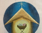 "Hand Painted Needlepoint Canvas Simple Nativity 4"" Ornament"