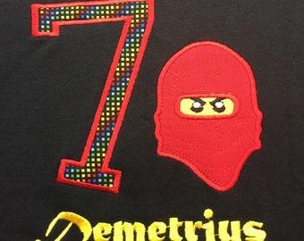 Lego Ninjago Birthday applique shirt