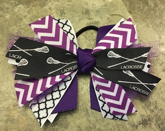 Lacrosse bow - lacrosse hair bow - lacrosse ponytail ribbon - purple lacrosse hairbow - lacrosse ribbon hair tie - purple white lacrosse bow